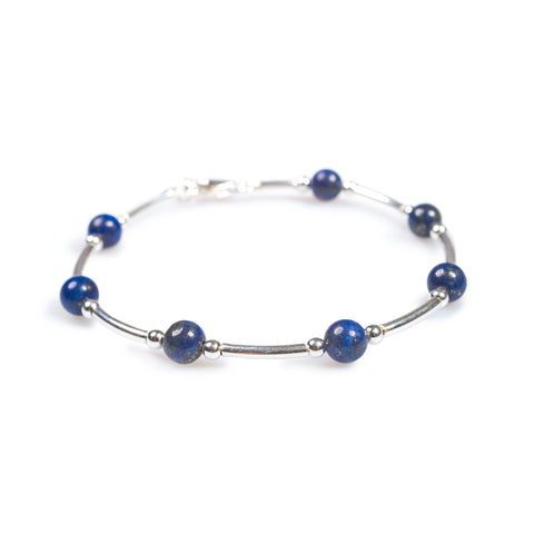 Bead Tube Bracelet in Silver and Lapis Lazuli