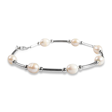 Bead Tube Bracelet in Silver and Pearl
