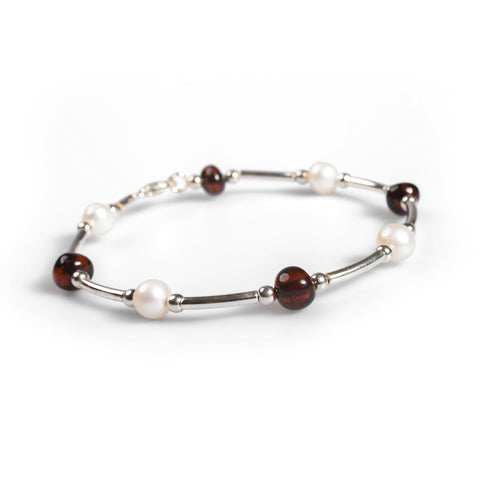 Bead Tube Bracelet in Silver, Pearl and Cherry Amber