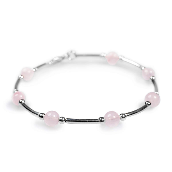 Bead Tube Bracelet in Silver and Rose/Pink Quartz