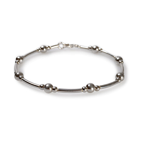 Bead Tube Bangle in Silver
