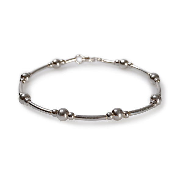 Bead Tube Bracelet in Silver