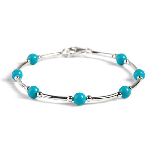 Bead Tube Bangle in Silver and Turquoise