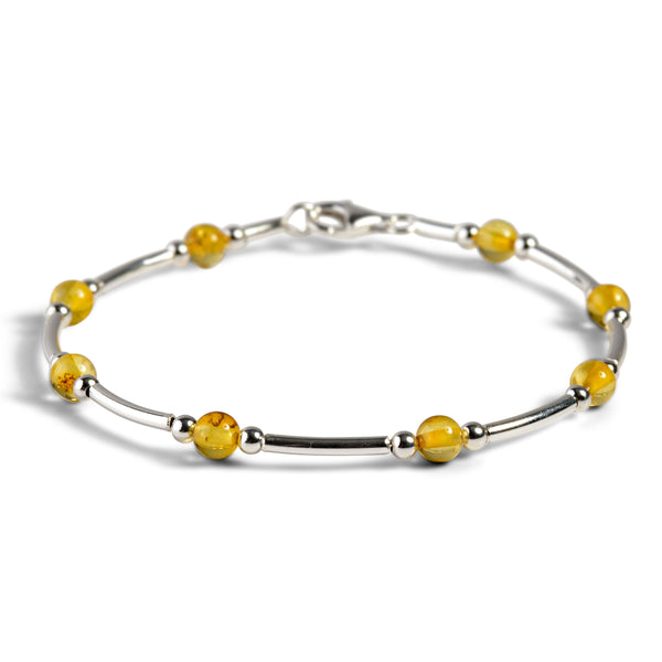 Bead Tube Bangle in Silver and Yellow Amber