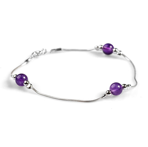 Delicate Bracelet in Silver and Amethyst