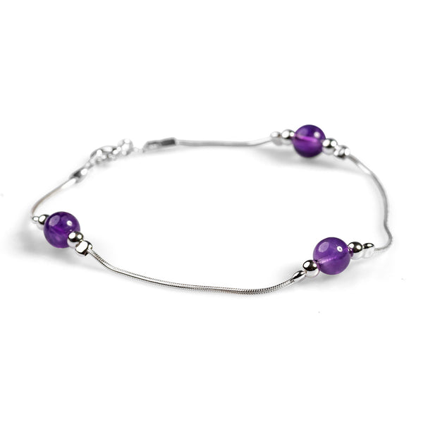 Bead Bracelet in Silver and Amethyst
