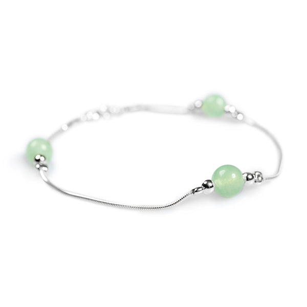Bead Bracelet in Silver and Aventurine