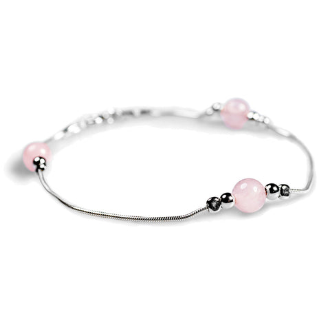 Bead Bracelet in Silver and Rose Quartz