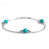 Dainty Bead Bracelet in Silver and Turquoise