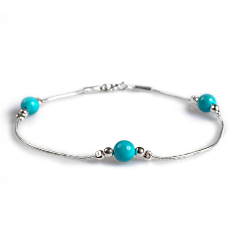 Bead Bracelet in Silver and Turquoise