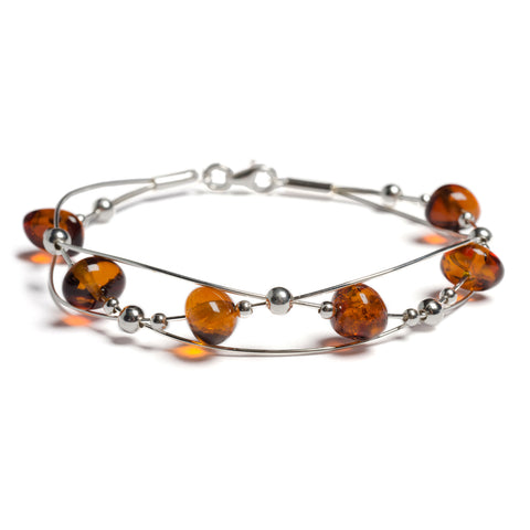 Weaved Bangle in Silver and Cognac Amber