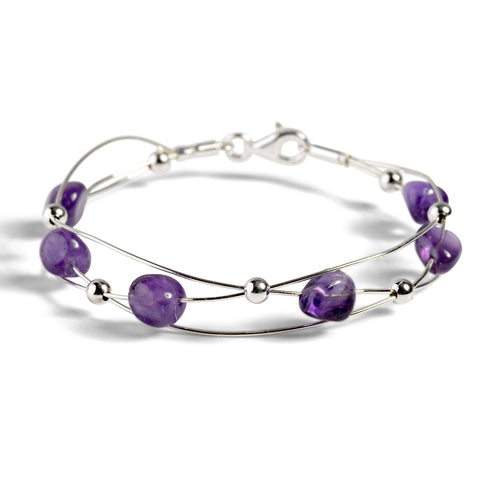 Weaved Bangle in Silver and Amethyst