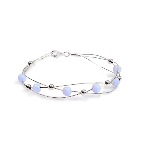Weaved Bangle in Silver and Blue Lace Agate