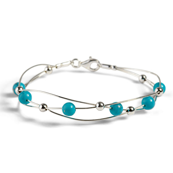 Weaved Bangle in Silver and Turquoise