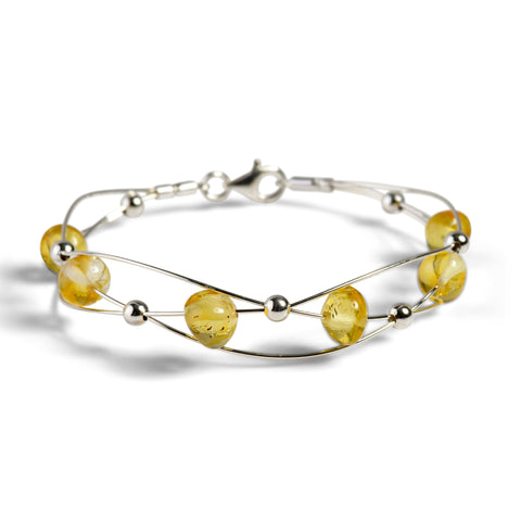 Weaved Bangle in Silver and Yellow Amber