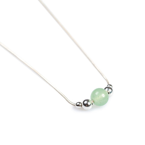 Delicate Single Stone Necklace in Silver and Aventurine