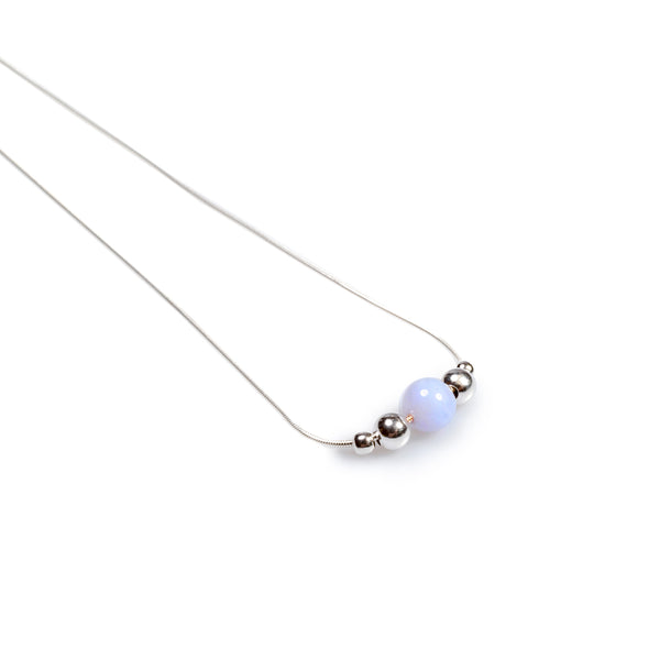 Delicate Single Stone Necklace in Silver and Blue Lace Agate