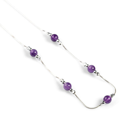 Delicate 5 Stone Necklace in Silver and Amethyst