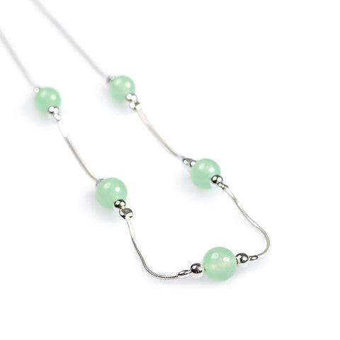 Delicate 5 Stone Necklace in Silver and Aventurine