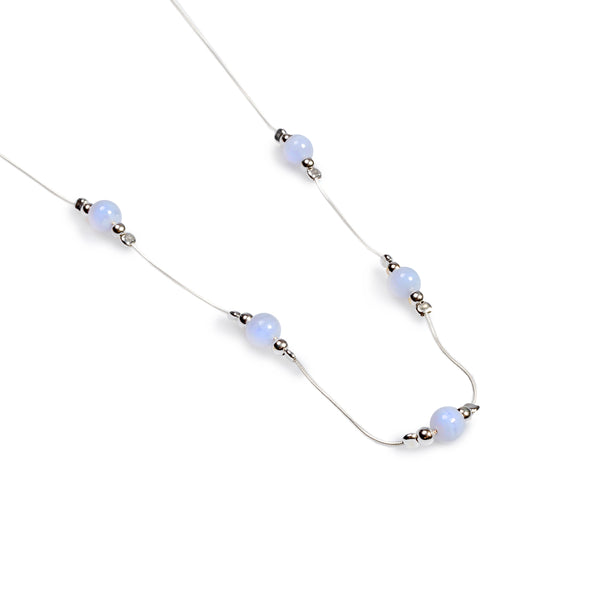 Delicate 5 Stone Necklace in Silver and Blue Lace Agate