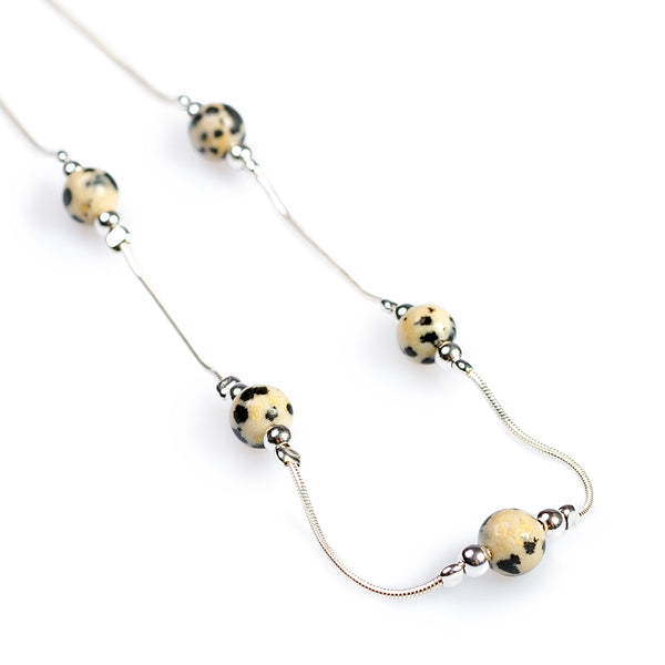 Delicate 5 Stone Necklace in Silver and Dalmatian Jasper