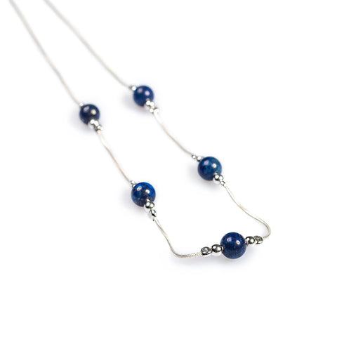Delicate 5 Stone Necklace in Silver and Lapis Lazuli