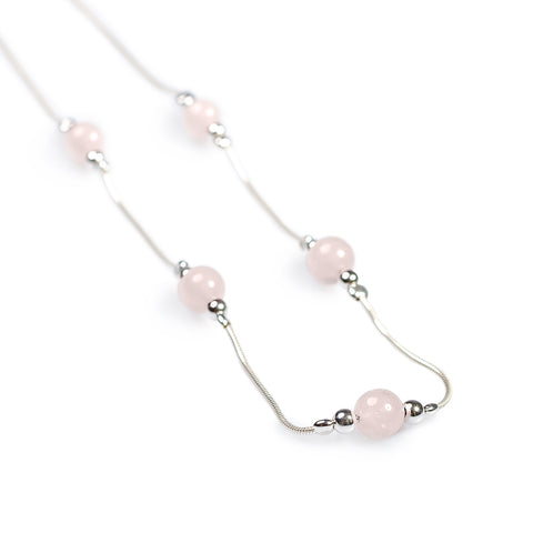 Delicate 5 Stone Necklace in Silver and Rose/Pink Quartz