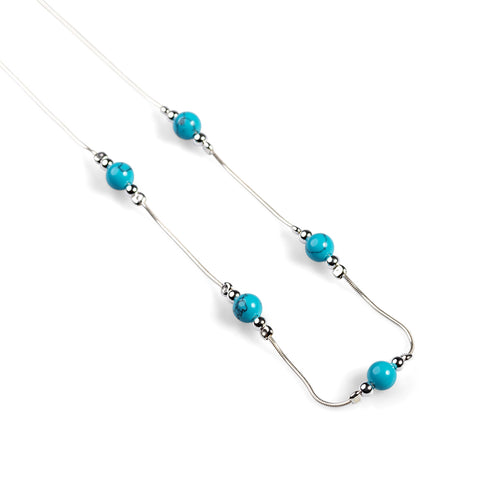 Delicate 5 Stone Necklace in Silver and Turquoise