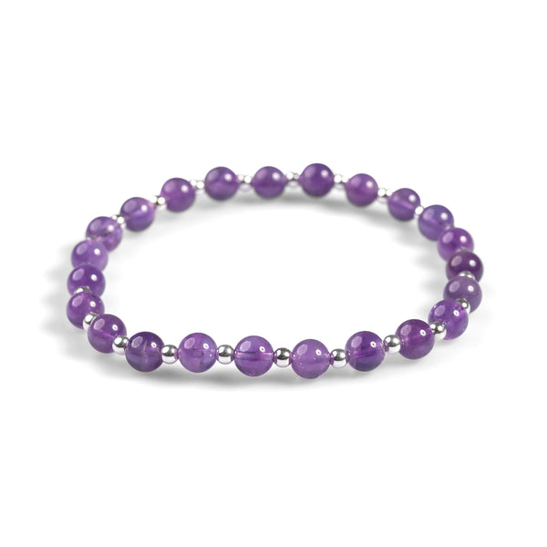 Stretch Bead Bracelet in Silver and Amethyst
