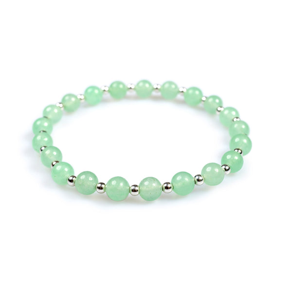 Stretch Bead Bracelet in Silver and Aventurine