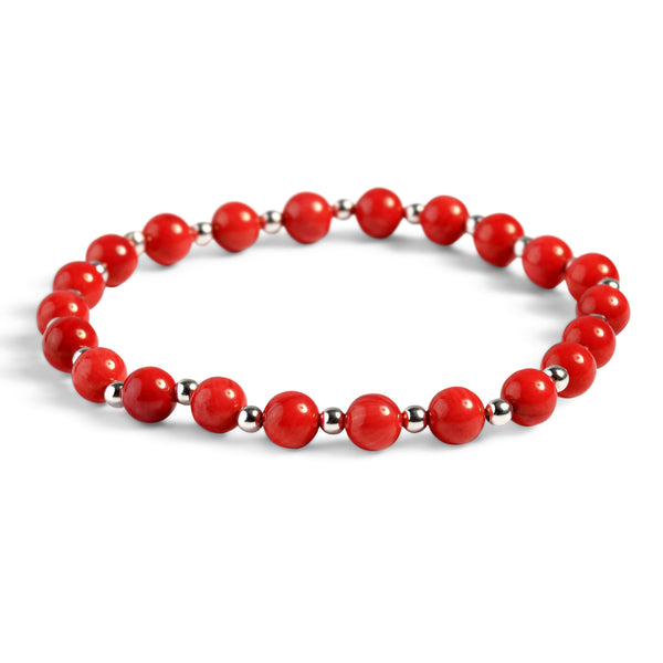 Stretch Bead Bracelet in Silver and Coral