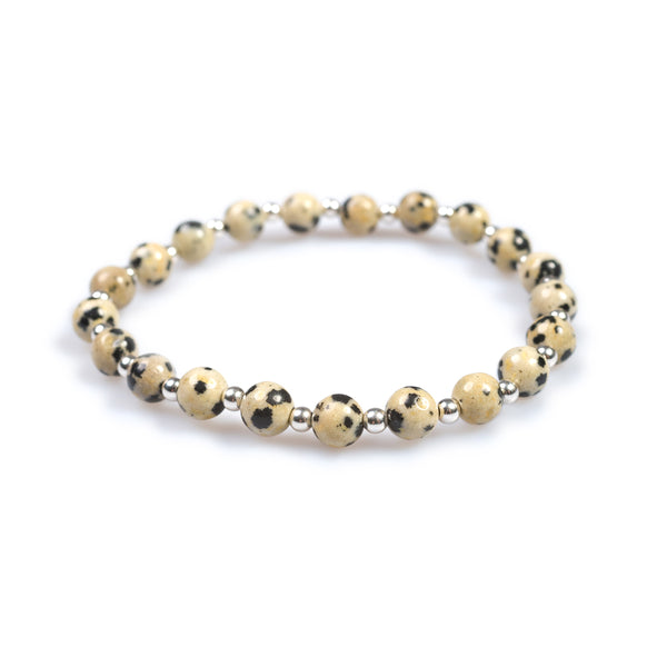 Stretch Bead Bracelet in Silver and Dalmatian Jasper