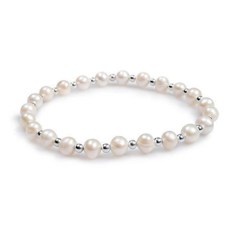 Stretch Bead Bracelet in Silver and Pearl
