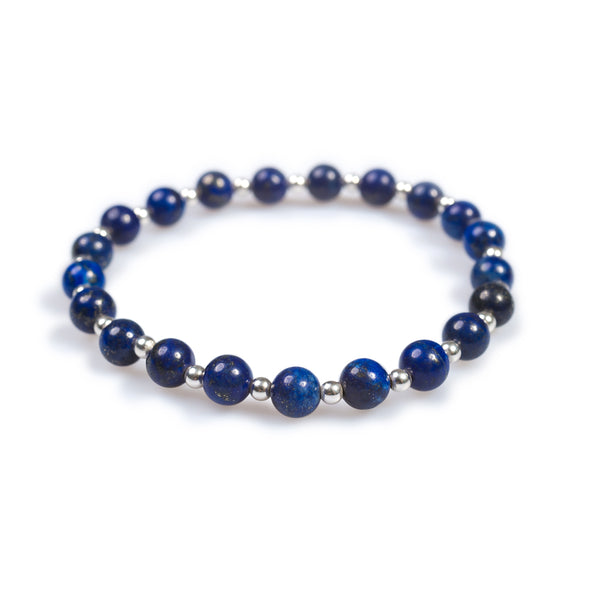 Stretch Bead Bracelet in Silver and Lapis Lazuli