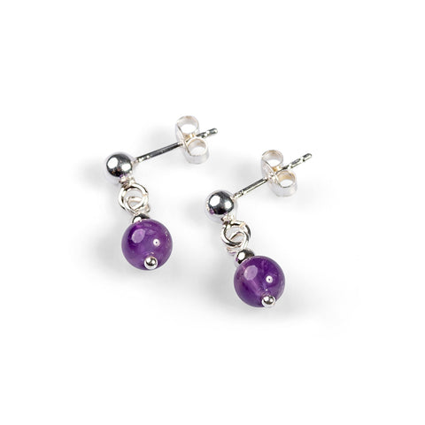 Drop Earrings in Silver and Amethyst