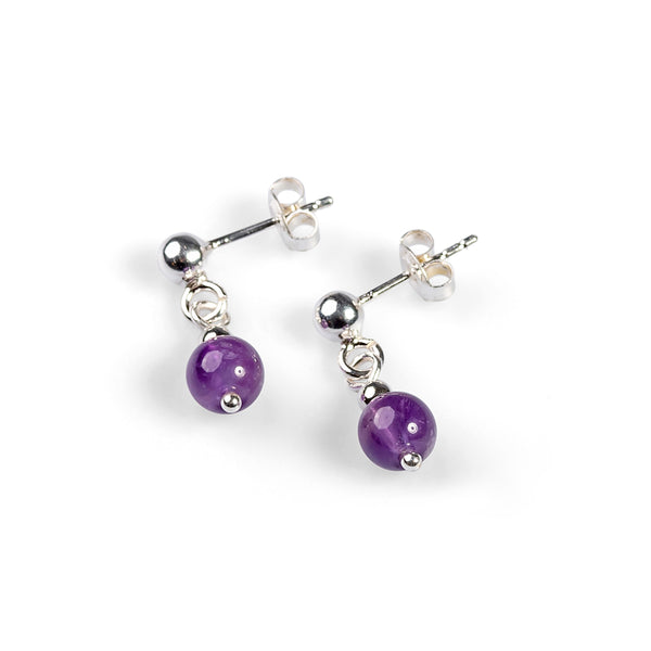 Drop Ball Earrings in Silver and Amethyst