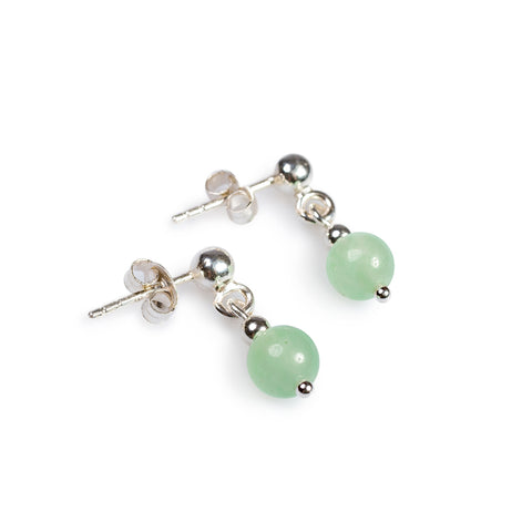 Drop Earrings in Silver and Aventurine
