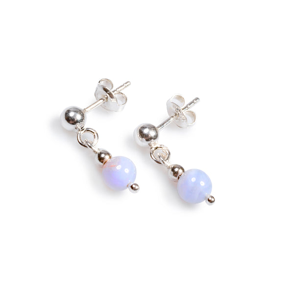 Drop Ball Earrings in Silver and Blue Lace Agate