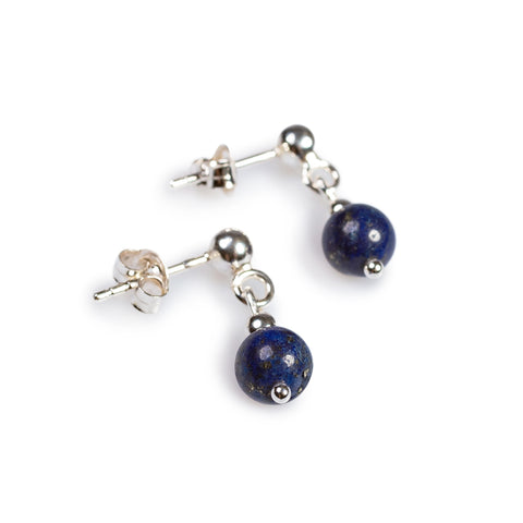 Drop Earrings in Silver and Lapis Lazuli
