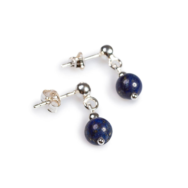 Drop Ball Earrings in Silver and Lapis Lazuli