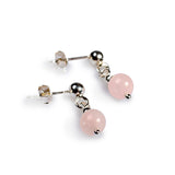 Drop Ball Earrings in Silver and Rose Quartz
