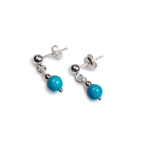 Drop Ball Earrings in Silver and Turquoise