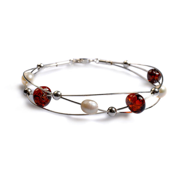 Weaved Bangle in Silver, Cherry Amber and Pearl