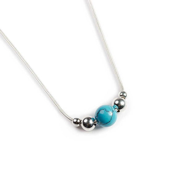 Delicate Single Stone Necklace in Silver and Turquoise