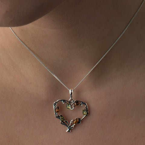 Tree of Love Necklace in Silver and Cognac Amber