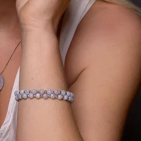 Stretch Bead Bracelet in Silver and Blue Lace Agate