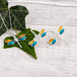 Rounded Dragonfly Drop Earrings in Silver, Yellow Amber and Turquoise