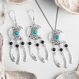 Dreamcatcher Drop Earrings in Silver, Turquoise and Onxy