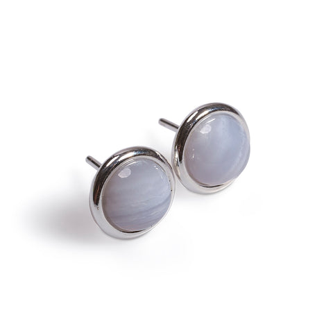 Round Stud Earrings in Silver and Blue Lace Agate