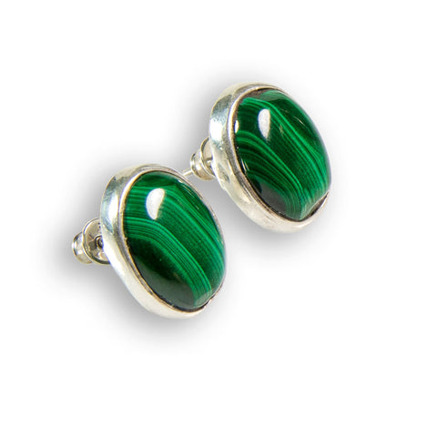 African Malachite Oval Stud Earrings - Natural Designer Gemstone